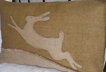 Helkat Leaping Hare Hessian Cushion Baytree Interiors > Cushions