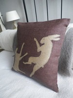 Helkat Boxing Hare Cushion - deep heather